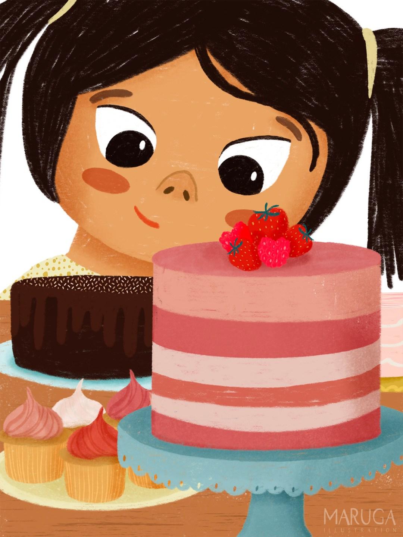 illustratie van een meisje dat kijkt naar verschillende taarten