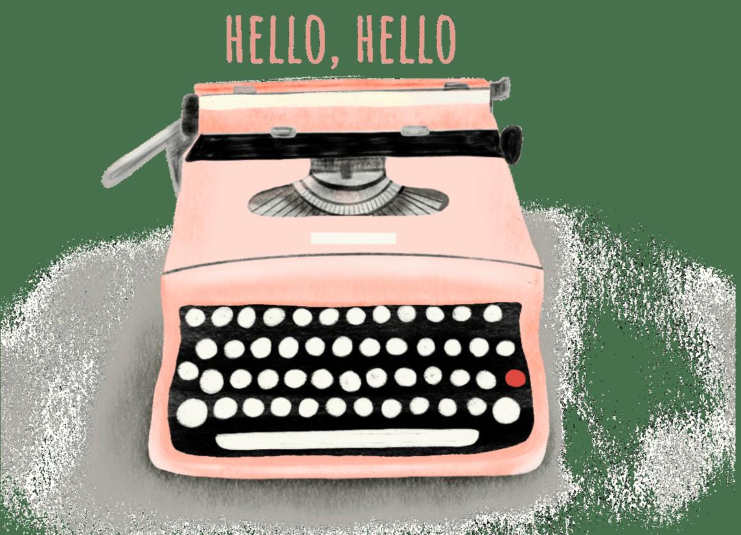 illustratie typemachine met hello, hello erboven geschreven