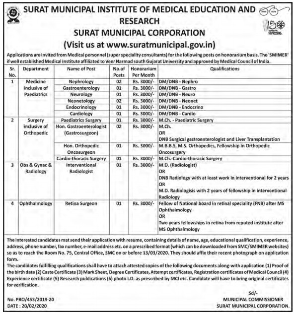 Surat Municipal Institute of Medical Education and Research (SMIMER) Recruitment for Various Posts 2020