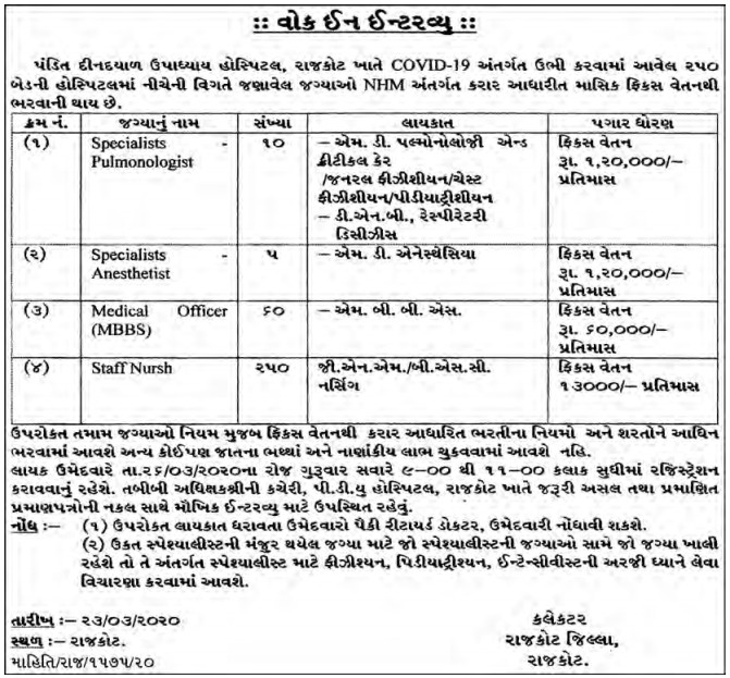 Pandit Deendayal Upadhyay Hospital, Rajkot Recruitment for 325 Specialist, Medical Officer & Staff Nurse Posts 2020