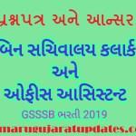 GSSSB Bin Sachivalay Clerk & Office Assistant Answerkey 2019 Paper Solution (17-11-2019)
