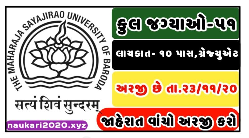 The Maharaja Sayajirao University Of Baroda (MSU) Recruitment