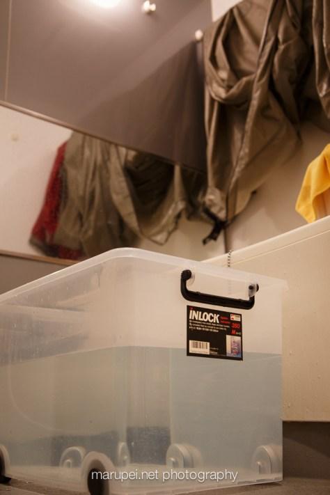収納ボックスでタープを洗う