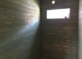 国産無垢杉板+オスモグリーン トイレ