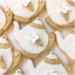 white lace and gold teapots Antique