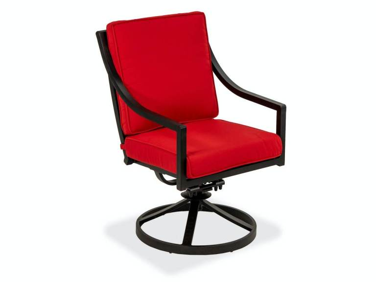hill country aged bronze aluminum and jockey red cushion swivel rocker dining chair