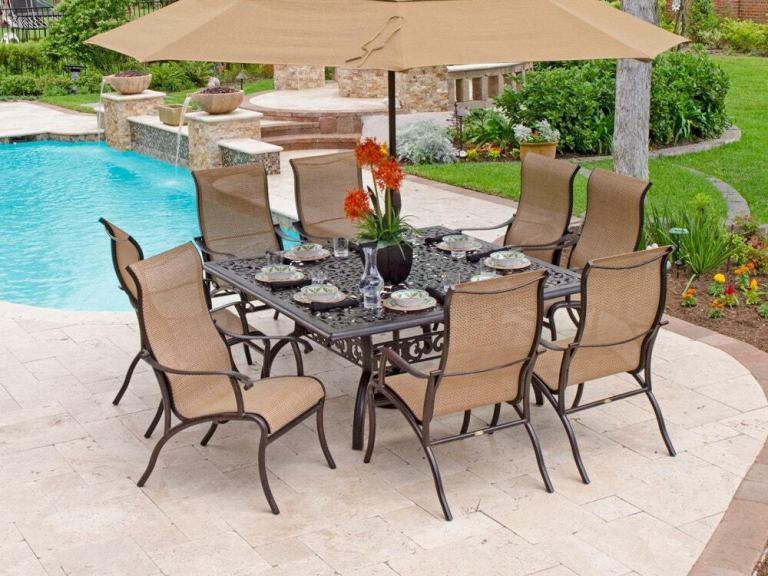 scarsdale autumn rust aluminum and wicker cordoba sling 9 pc dining set with 64 in sq table
