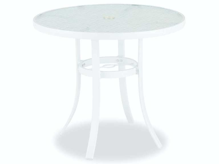 cape coral white aluminum 32 in d glass top dining table