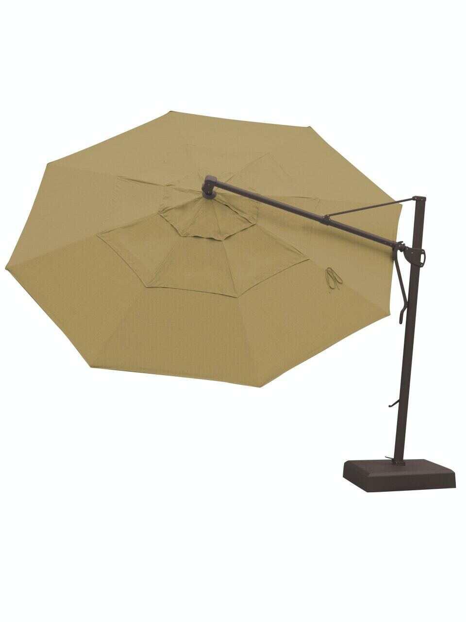 living room treasure garden 13 ft canvas heather beige aluminum cantilever umbrella akz13 7296138