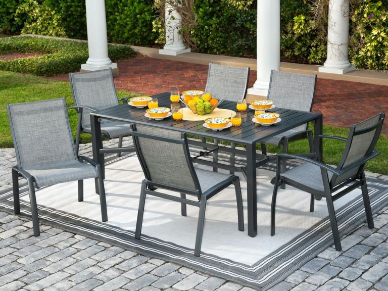 ventura pewter aluminum and augustine pewter sling 7 pc dining set with 66 x 40 in dining table