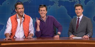 Ryan Reynolds and Alex at Colin Jost SNL Weekend Update