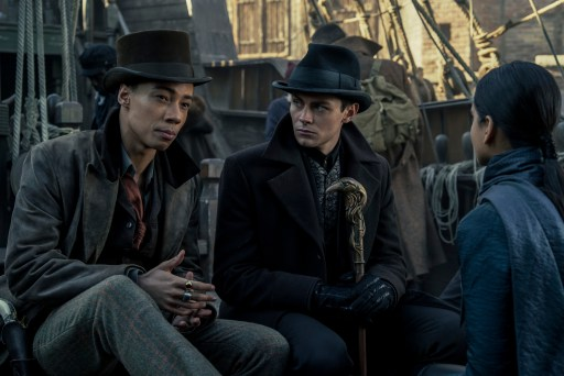 "Kit Young as Jesper Fahey, Freddy Carter as Kaz Brekker, and Amita Suman as Inej Ghafa in Shadow and Bone's ""No Mourners"""