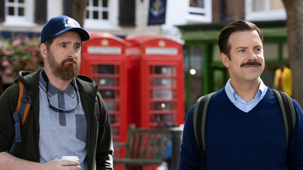 """Brendan Hunt and Jason Sudeikis in """"Ted Lasso,"""" now streaming on Apple TV+."""