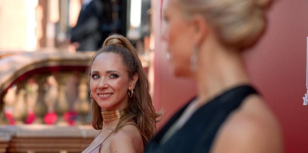 """Juno Temple and Hannah Waddingham in """"Ted Lasso,"""" """"For the Children"""" Episode now streaming on Apple TV+."""