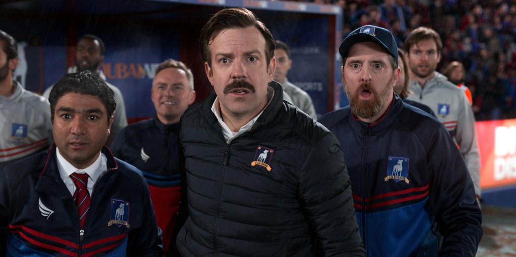 """Nick Mohammed, Jason Sudeikis and Brendan Hunt in """"Ted Lasso,""""  now streaming on Apple TV+."""