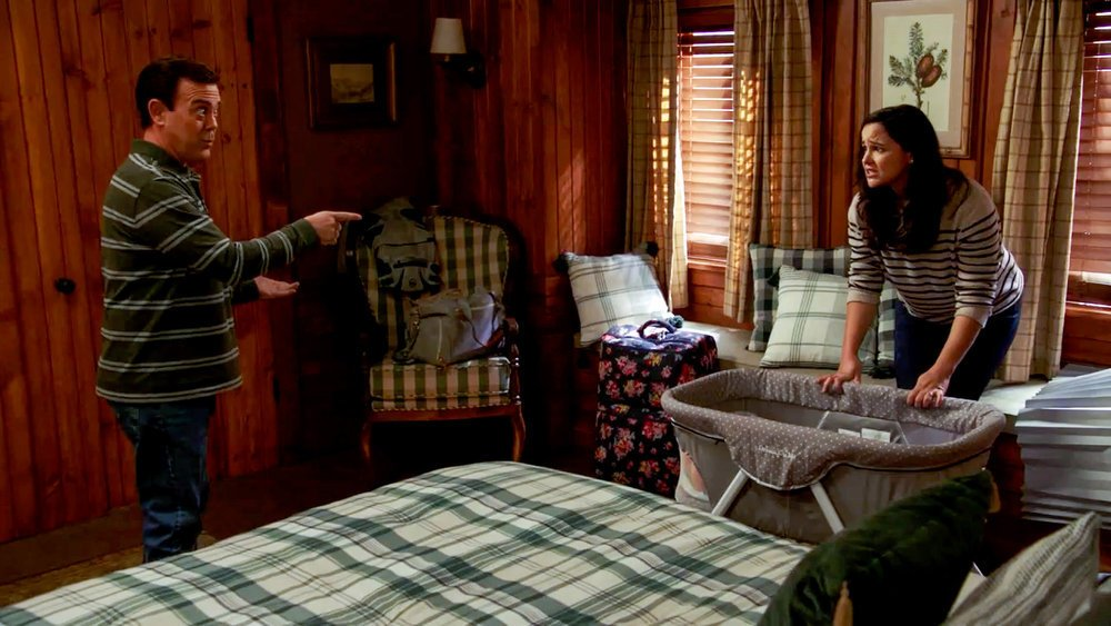 """BROOKLYN NINE-NINE -- """"The Lake House"""" Episode 801 -- Pictured in this screen grab: (l-r) Joe Lo Truglio as Charles Boyle, Melissa Fumero as Amy Santiago --"""