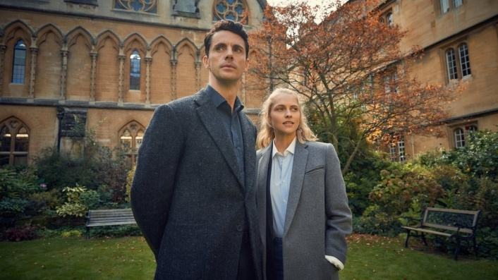 Screenshot of Matthew and Diana from Sky One's A Discovery of Witches showcasing autumn vibes
