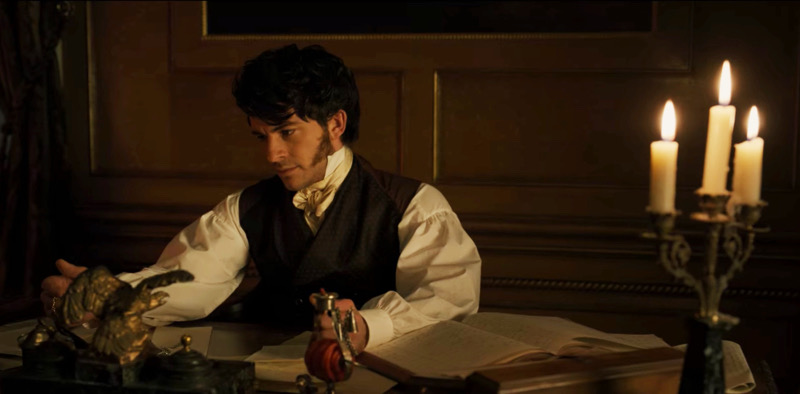 """a screenshot of Anthony Bridgerton looking at his father's old pocket watch in Bridgerton's """"An Affair of Honor"""""""