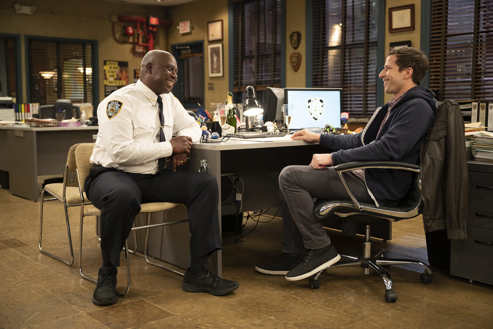 """BROOKLYN NINE-NINE -- """"The Last Day, Part 2"""" Episode 810 -- Pictured: (l-r) Andre Braugher as Ray Holt, Andy Samberg as Jake Peralta -- (Photo by: John P. Fleenor/NBC) Holt and Jake in """"The Last Day"""""""