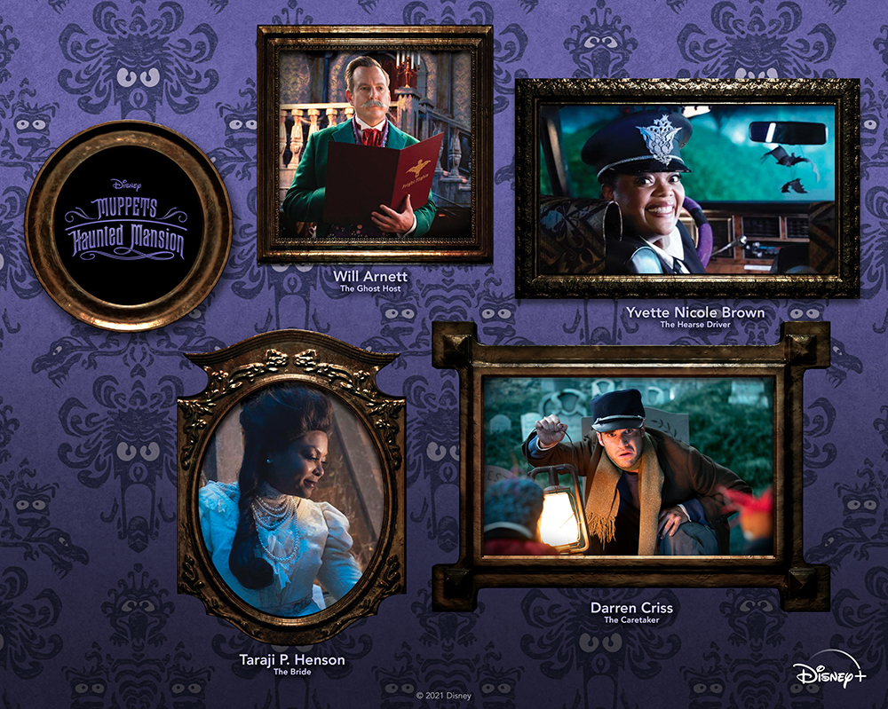 featured cast art for Muppets Haunted Mansion available exclusively on Disney Plus.