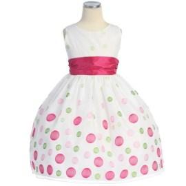 Sweet Kids White Fuchsia Organza Polka Dot Flower Girl Dress