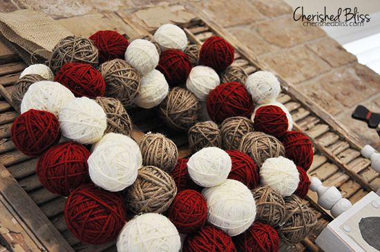 Christmas Yarn Ball Wreath