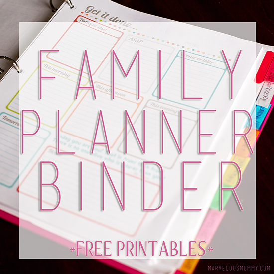 image relating to Free Printable Family Planner identified as Using Prepared Household Planner Binder No cost Printables