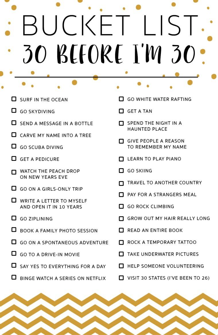 30 Before I'm 30   Bucket List – Marvelous Mommy