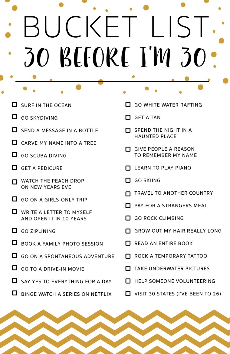 30 before i m 30 bucket list marvelous mommy for Minimalist living 100 things list