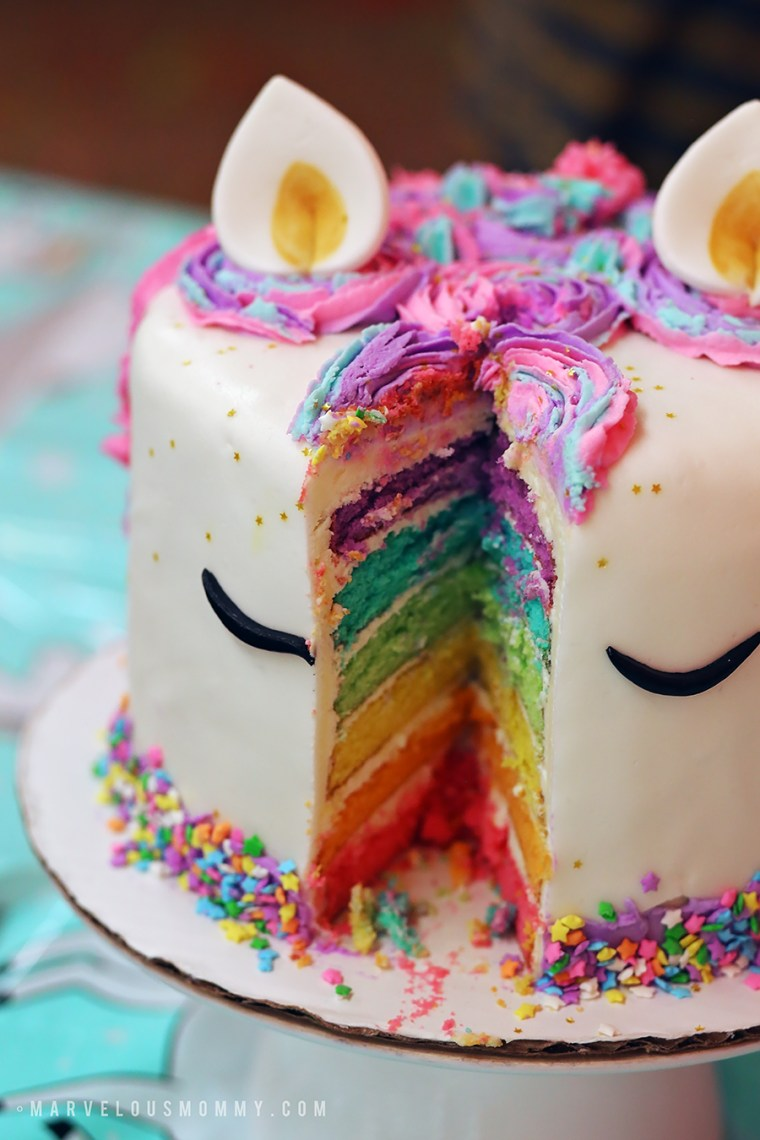Diy Rainbow Unicorn Cake Haley S 6th Birthday Party Marvelous Mommy