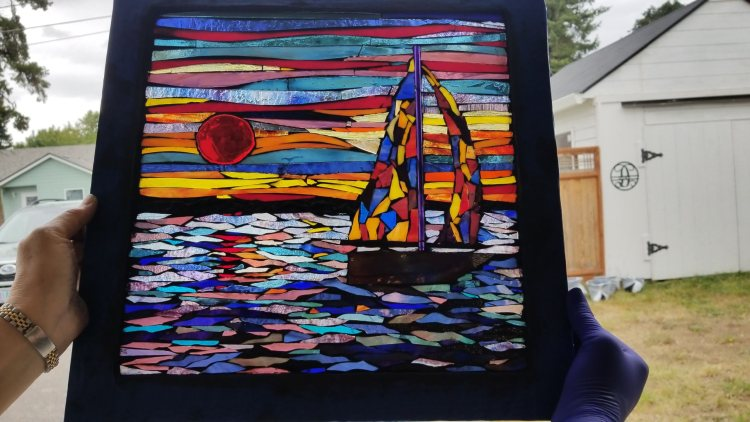 sunset and silhouette glass on glass stained glass mosaic class with Kory Dollar of Marvelous Mosaic Fine Art