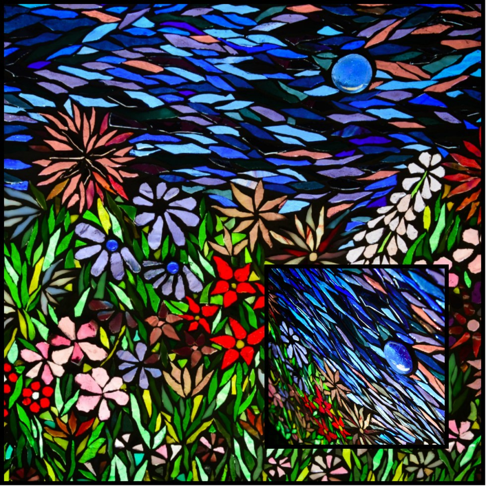 Glass on Glass Flower Garden Mosaic by Kory Dollar of Marvelous Mosaic Fie Art
