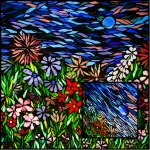 Glass on Glass Flower Garden Mosaic by Kory Dollar of Marvelous Mosaic Fie Art