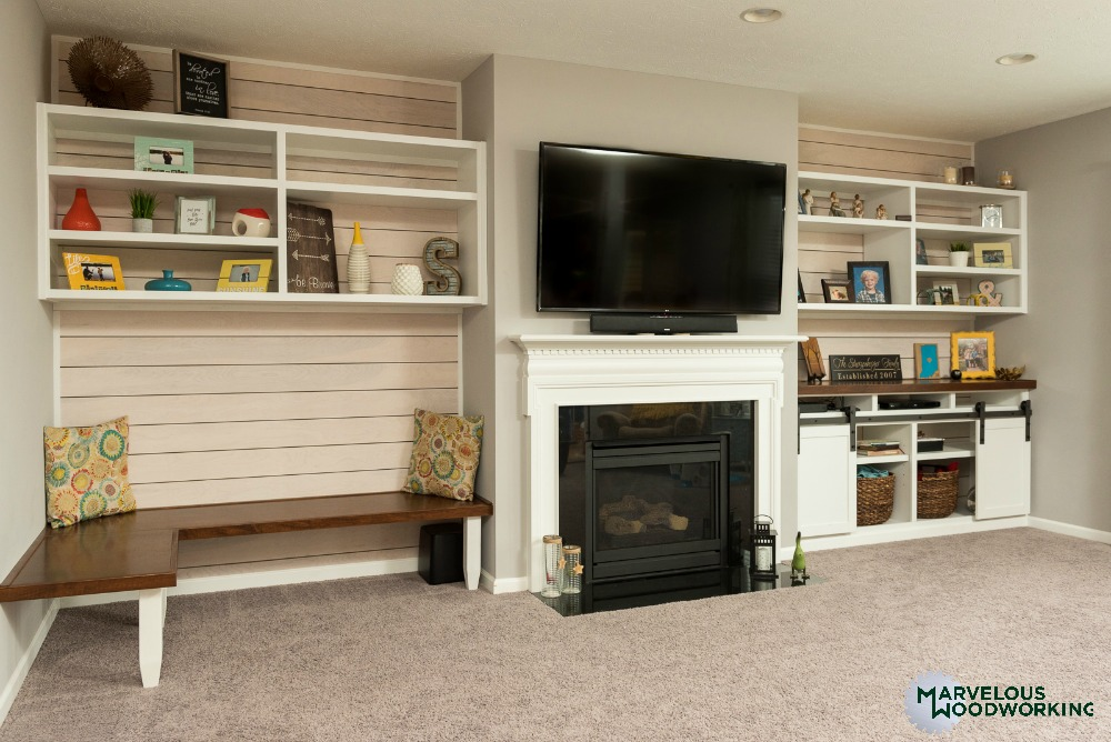 For The Storage Side Of The Fireplace, We Installed Cabinetry With Niches  To Hold TV Components, As Well As Open And Closed Shelving.