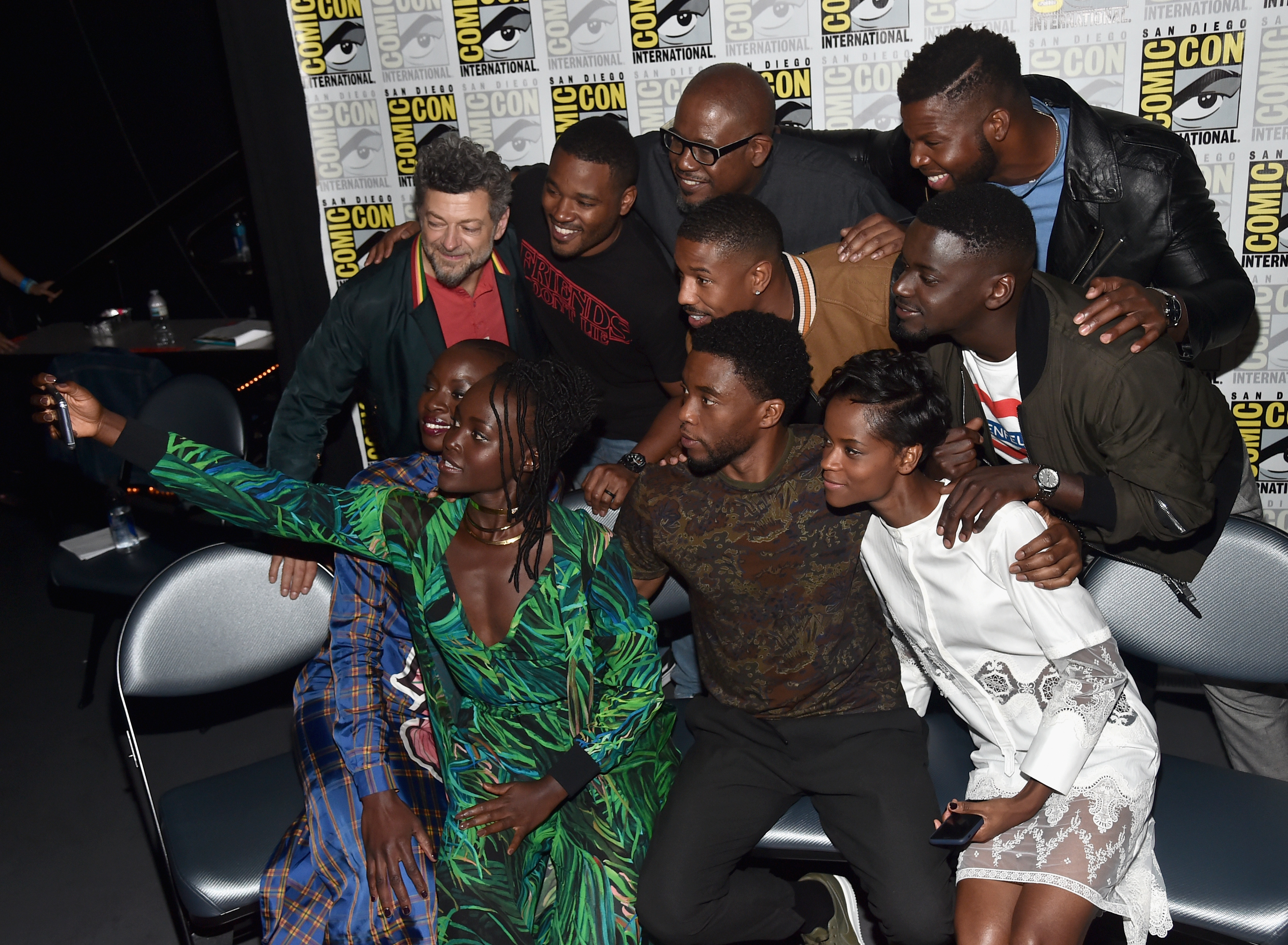 SAN DIEGO, CA - JULY 22:  (Back row L - R) Actor Andy Serkis, director Ryan Coogler, actors Forest Whitaker, Michael B. Jordan, Winston Duke, Daniel Kaluuya, (front row L - R) Danai Gurira, Lupita Nyong'o, Chadwick Boseman and Letitia Wright from Marvel Studios' 'Black Panther' at the San Diego Comic-Con International 2017 Marvel Studios Panel in Hall H on July 22, 2017 in San Diego, California.  (Photo by Alberto E. Rodriguez/Getty Images for Disney) *** Local Caption *** Andy Serkis; Ryan Coogler; Forest Whitaker; Michael B. Jordan; Winston Duke; Daniel Kaluuya; Danai Gurira; Lupita Nyong'o; Chadwick Boseman; Letitia Wright