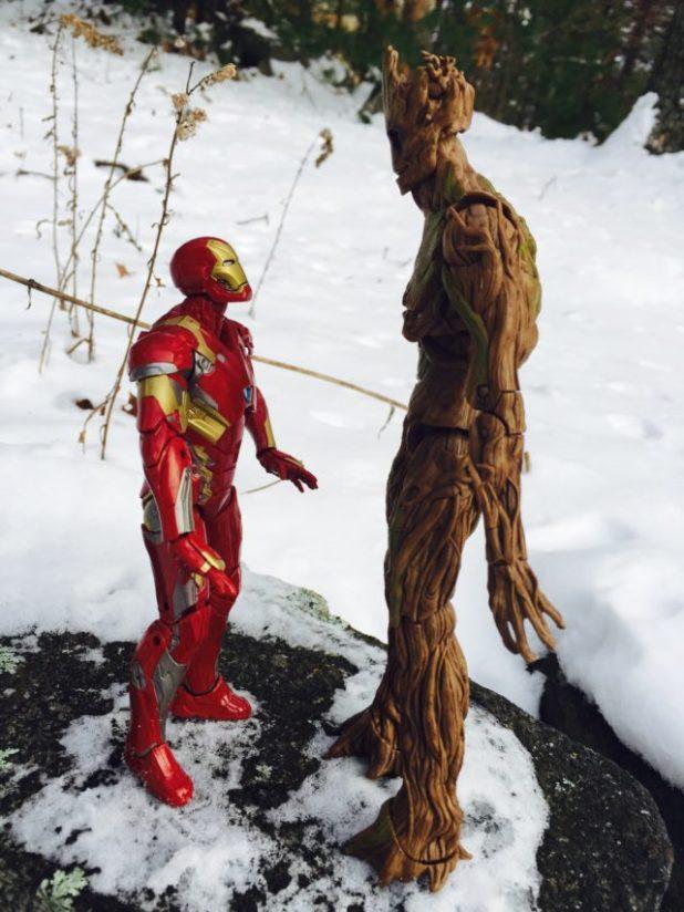Marvel Legends Iron Man vs. Groot Size Scale Comparison Photo