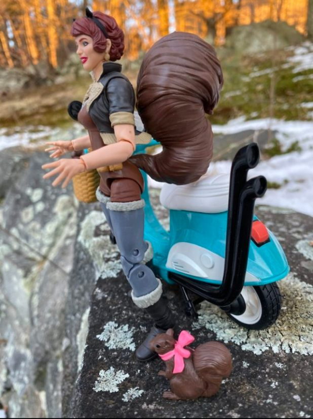 Side View of Hasbro Marvel Legends Squirrel Girl Figure with Scooter