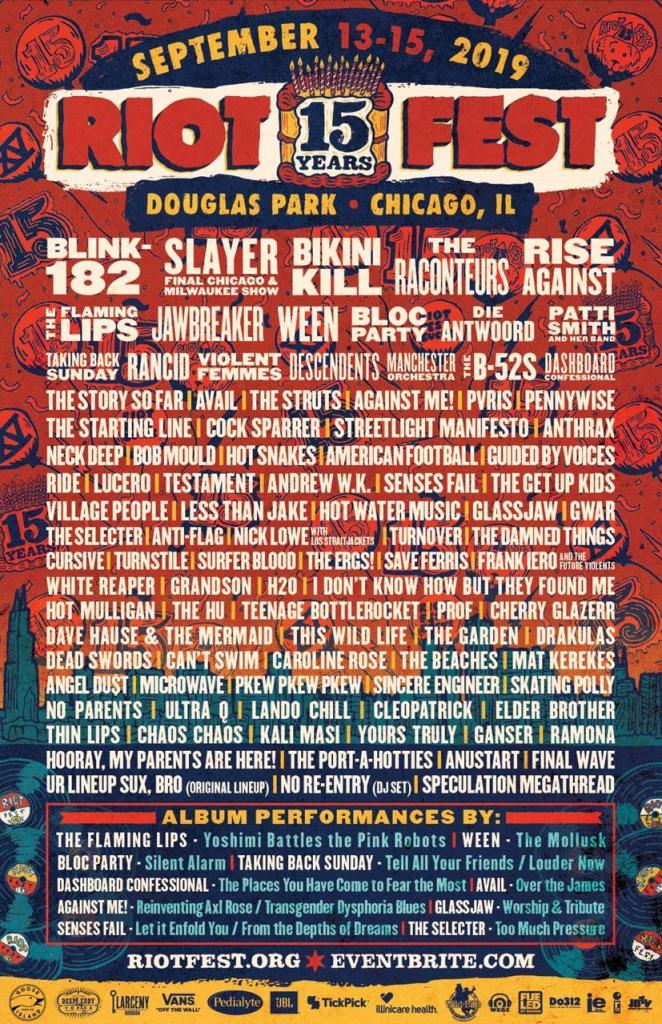 Riot Fest Chicago Douglas Park Blink-182 Slayer Die Antwoord Bloc Party Rancid concierto boletos