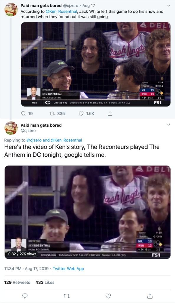 Jack White en el béisbol