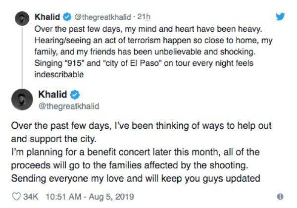 khalid concierto benefico el paso texas tiroteo twitter
