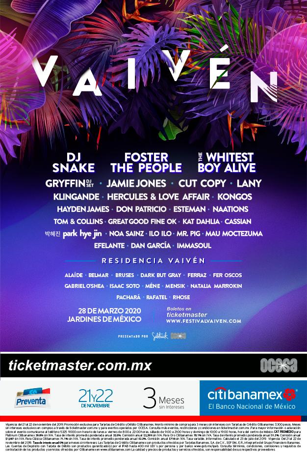 El Festival Vaivén 2020 ya tiene cartel: The Whitest Boy Alive, Foster The People y DJ Snake encabezan la fiesta