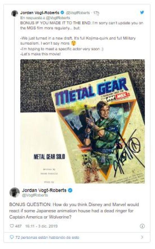 metal gear solid nueva pelicula detalles jordan vogt roberts