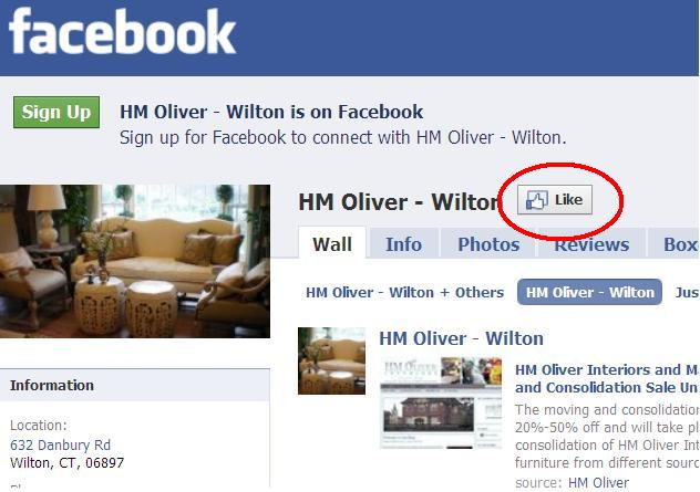 """Like"" HM Oliver Interiors on Facebook!"