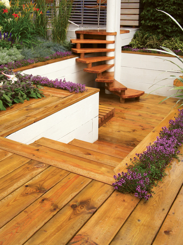 laying a wooden deck