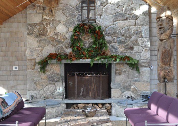 Decorate the Mantel of Your Outdoor Fireplace