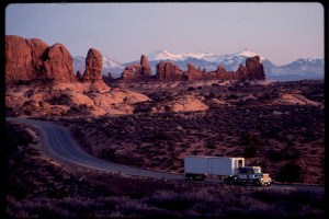 USA roads, Western USA, Truck on road