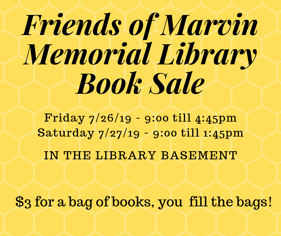 Friends of Marvin Memorial Library Book Sale @ Marvin Memorial Library