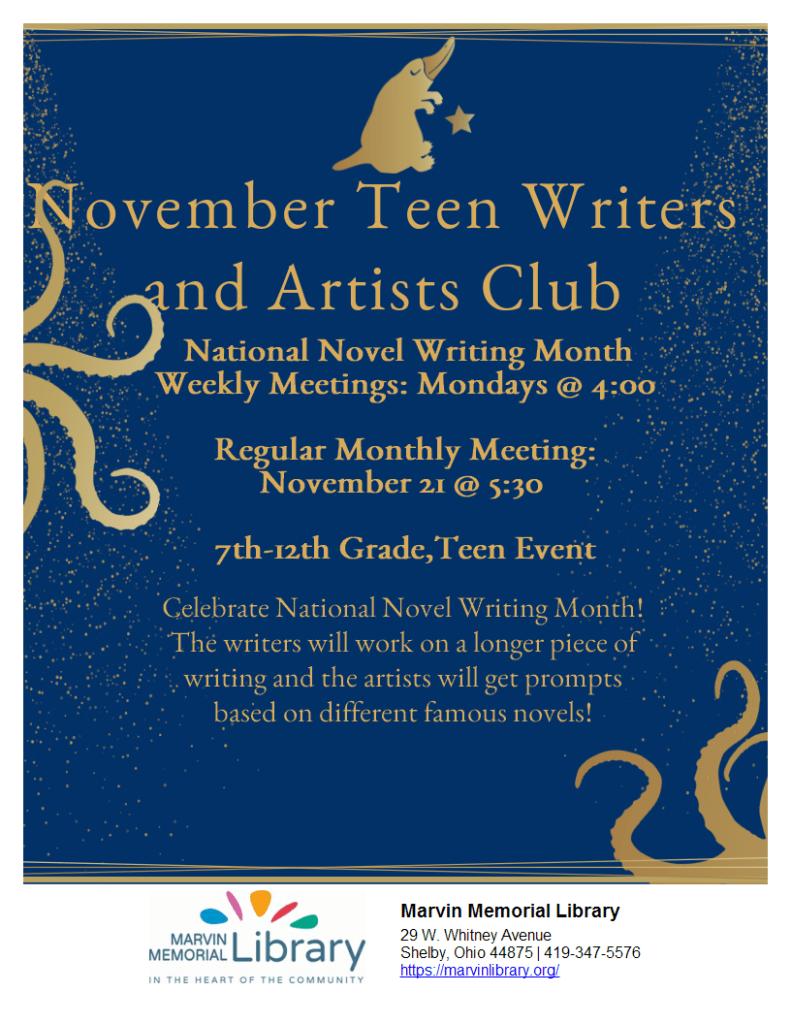 November Teen Writers & Artists Club @ Marvin Memorial Library