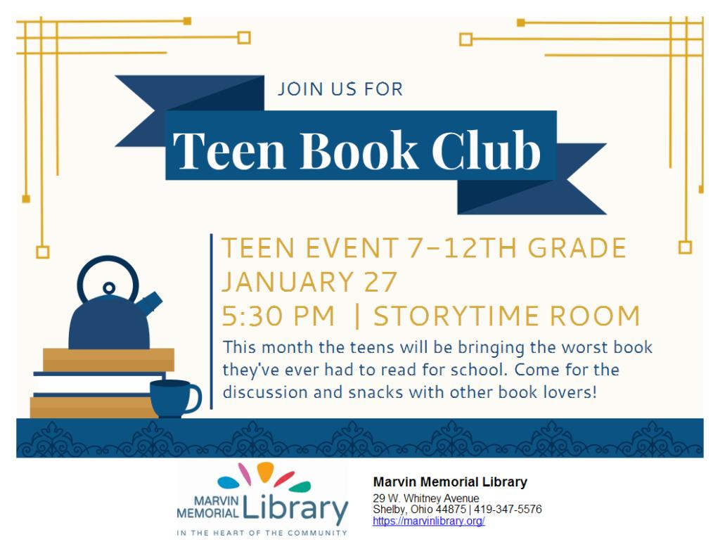 Teen Book Club @ Marvin Memorial Library