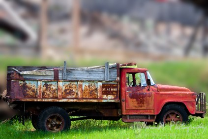 """This is one of about 20 """"old"""" trucks frozen in place from the day the mine shut down many years ago."""